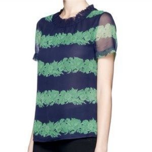 J Crew Silk Top Blouse in Navy Beanstalk Stripe